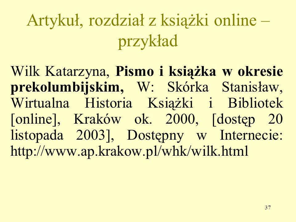 Artykuł, rozdział z książki online – przykład