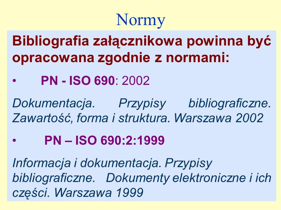 Normy Bibliografia załącznikowa powinna być opracowana zgodnie z normami: PN - ISO 690: 2002.
