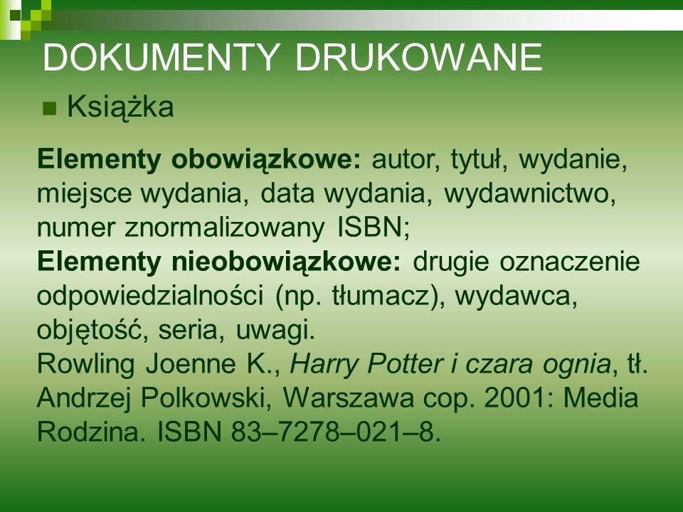 DOKUMENTY DRUKOWANE Książka