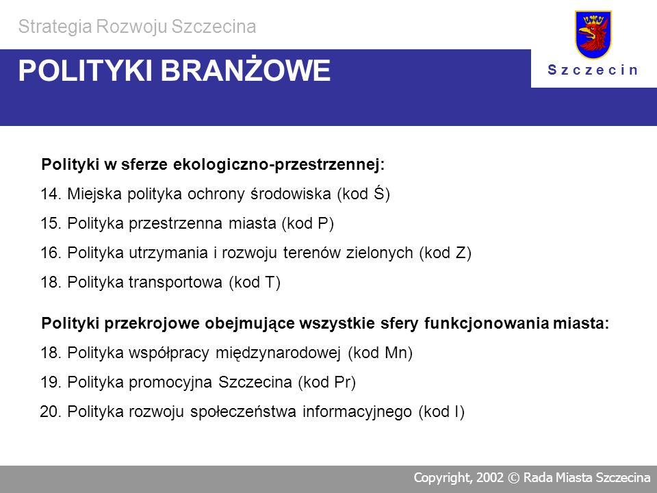 POLITYKI BRANŻOWE Strategia Rozwoju Szczecina