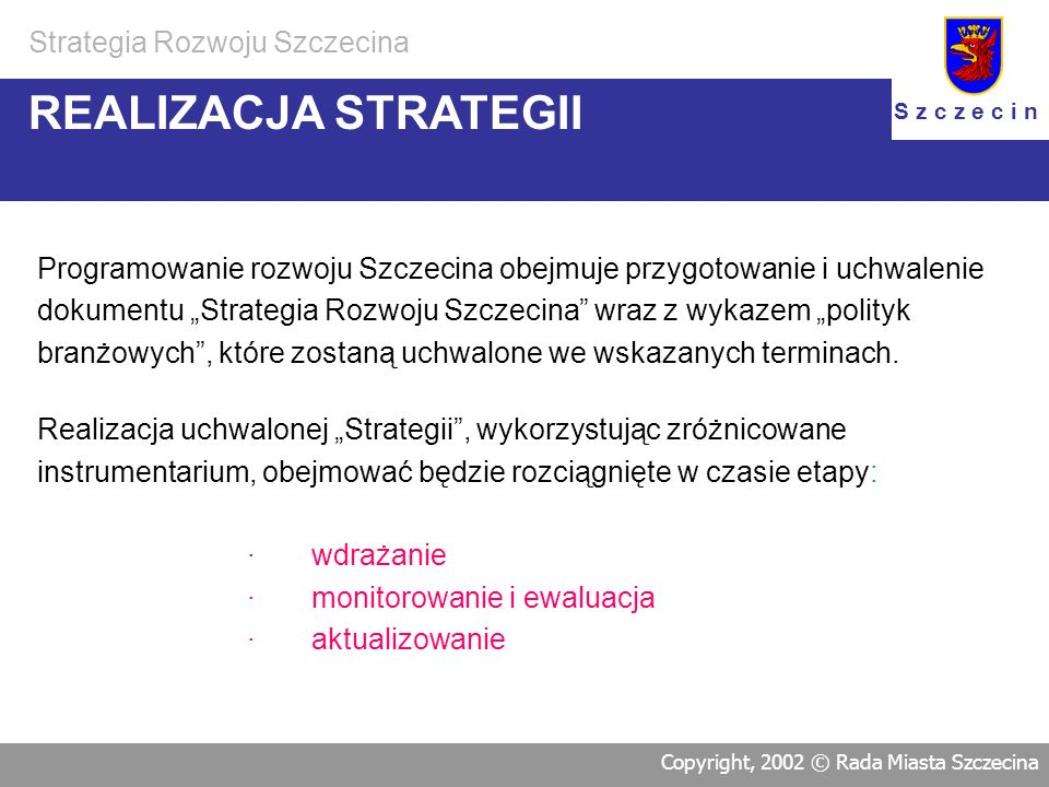 REALIZACJA STRATEGII Strategia Rozwoju Szczecina
