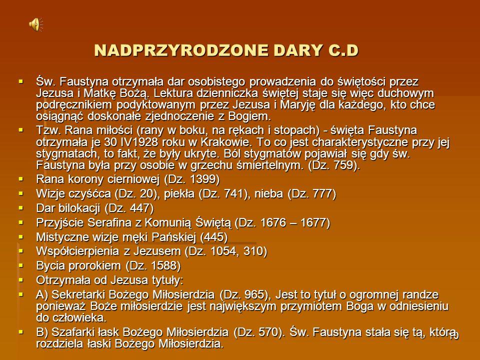 NADPRZYRODZONE DARY C.D
