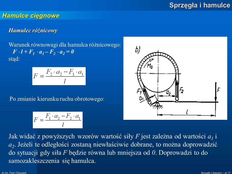 Hamulce cięgnowe Hamulec różnicowy. Warunek równowagi dla hamulca różnicowego: F  l + F1  a1 – F2  a2 = 0.