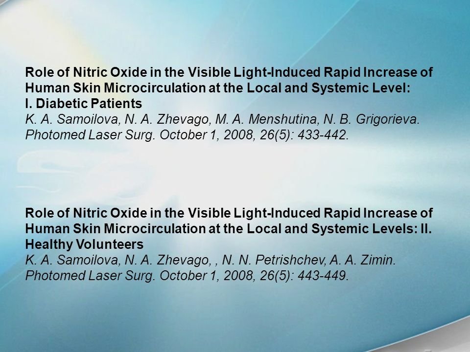 Role of Nitric Oxide in the Visible Light-Induced Rapid Increase of Human Skin Microcirculation at the Local and Systemic Level: