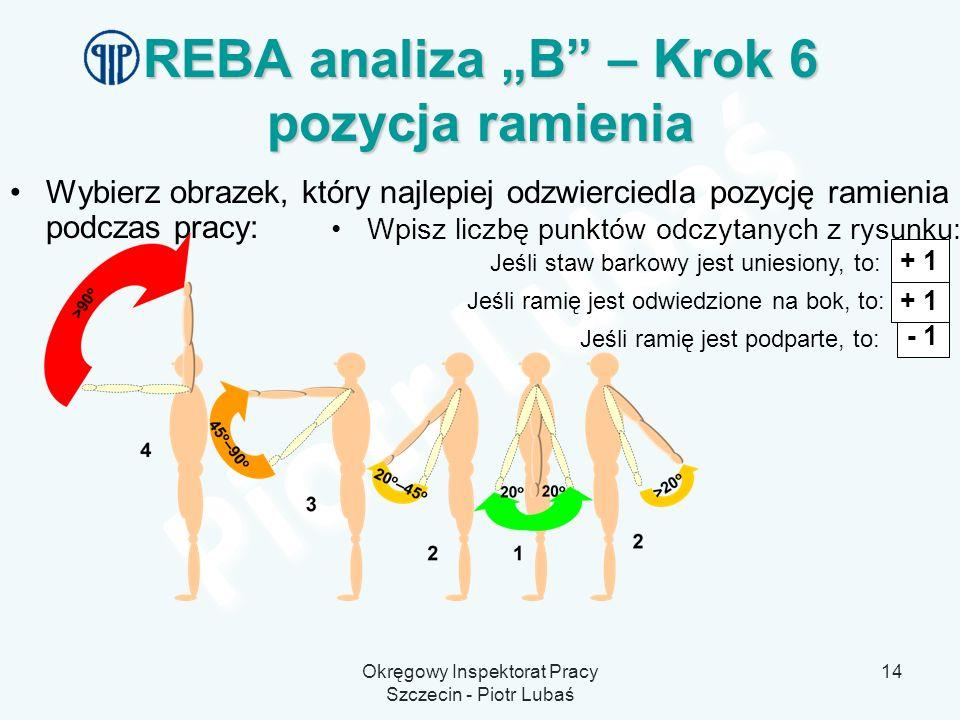 """REBA analiza """"B – Krok 6 pozycja ramienia"""