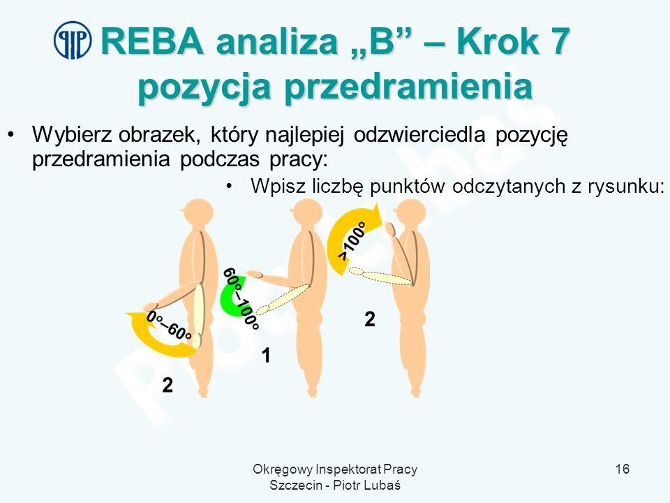 """REBA analiza """"B – Krok 7 pozycja przedramienia"""
