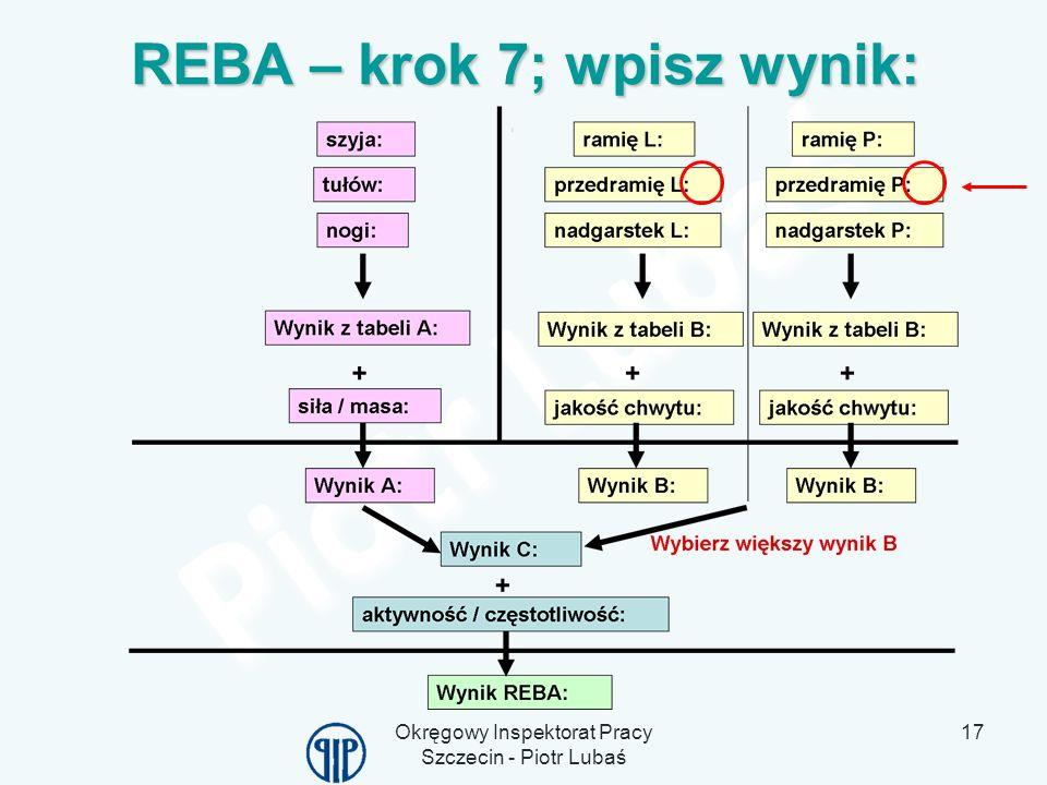 REBA – krok 7; wpisz wynik: