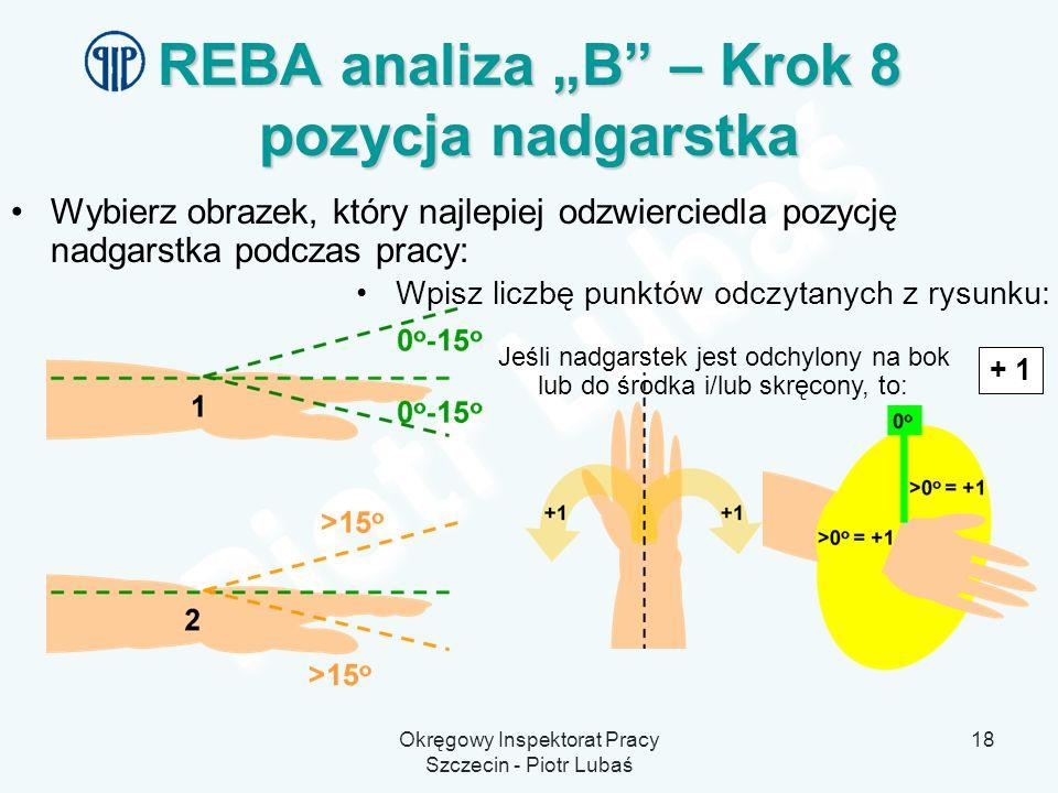 """REBA analiza """"B – Krok 8 pozycja nadgarstka"""