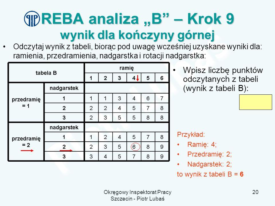 """REBA analiza """"B – Krok 9 wynik dla kończyny górnej"""