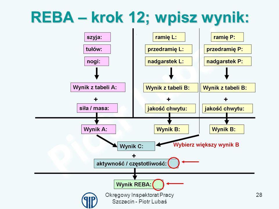 REBA – krok 12; wpisz wynik: