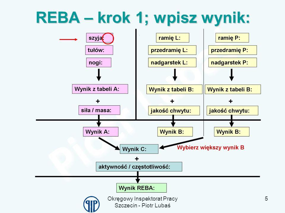 REBA – krok 1; wpisz wynik: