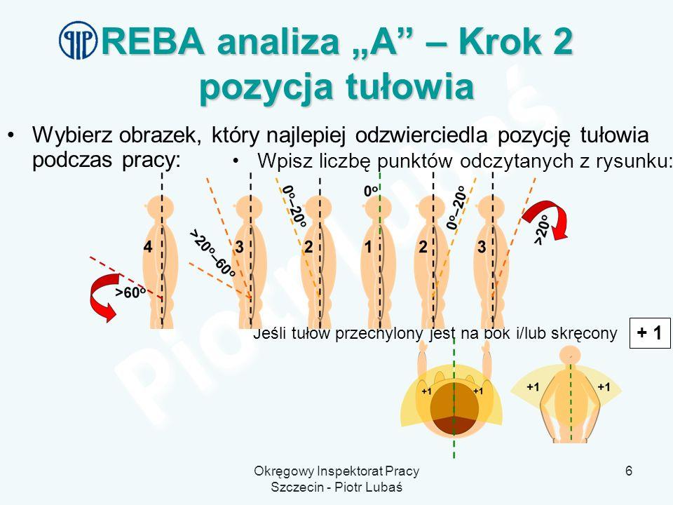 """REBA analiza """"A – Krok 2 pozycja tułowia"""