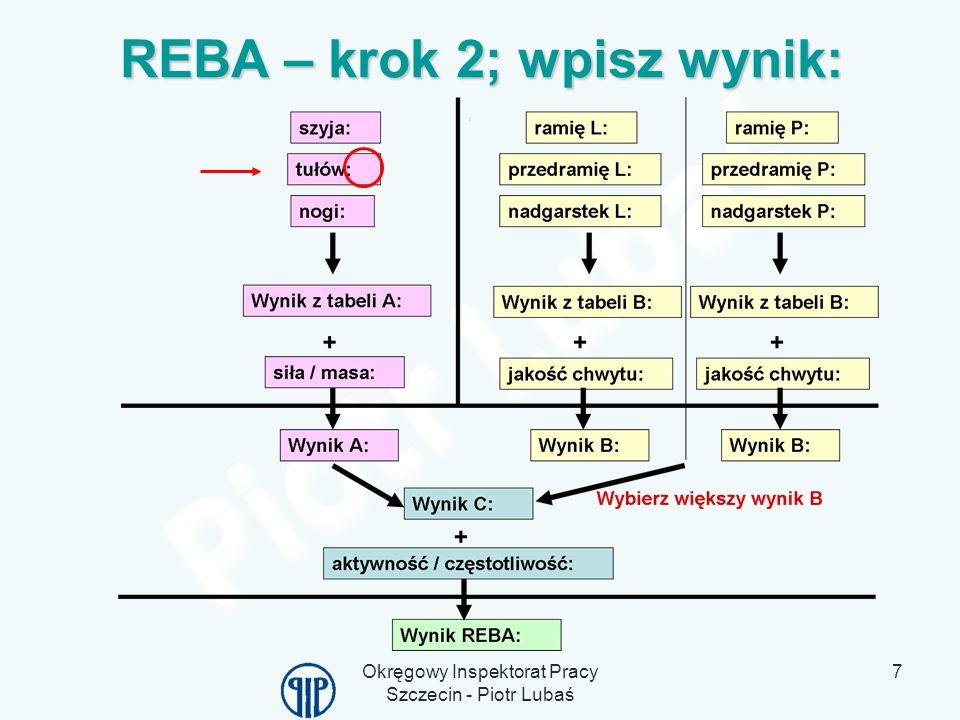 REBA – krok 2; wpisz wynik: