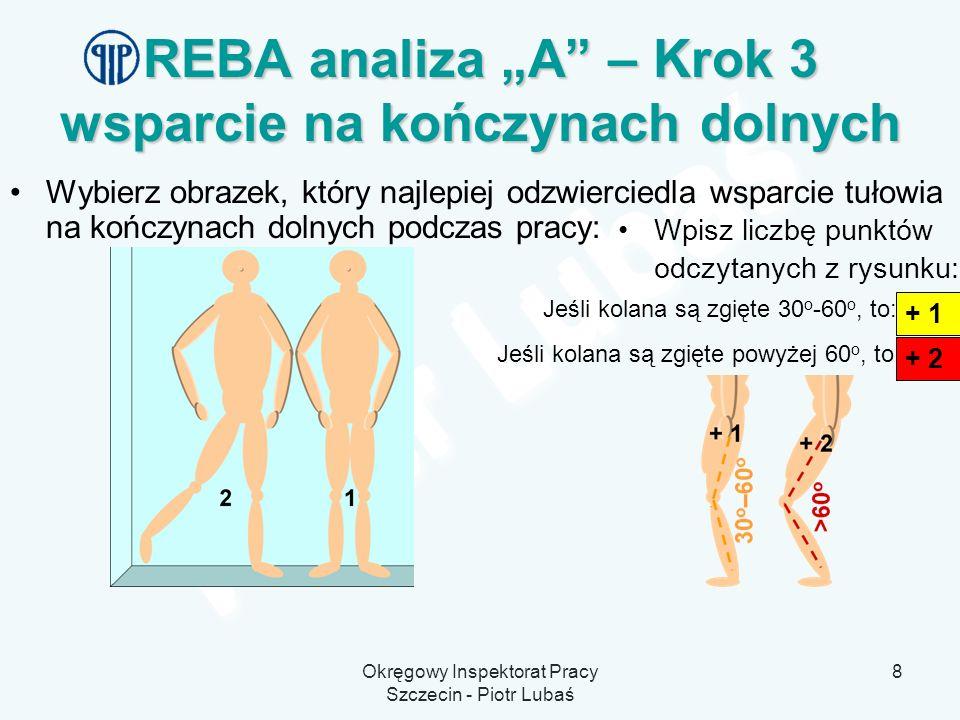 "REBA analiza ""A – Krok 3 wsparcie na kończynach dolnych"