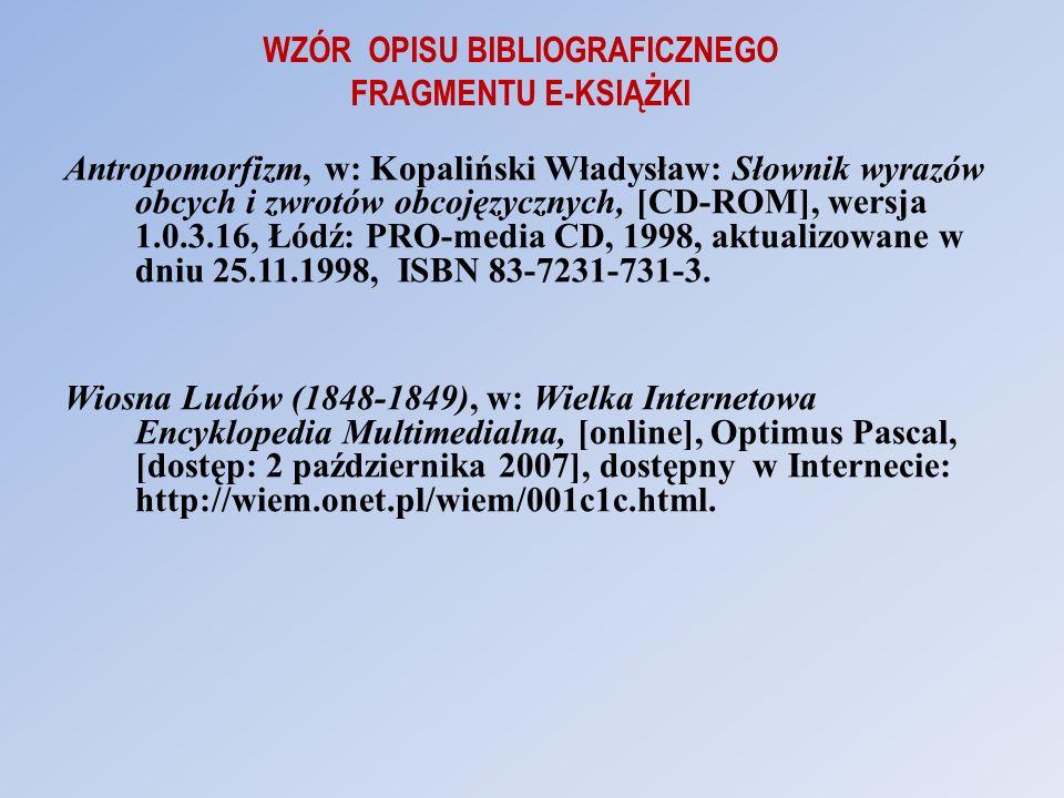 WZÓR OPISU BIBLIOGRAFICZNEGO FRAGMENTU E-KSIĄŻKI