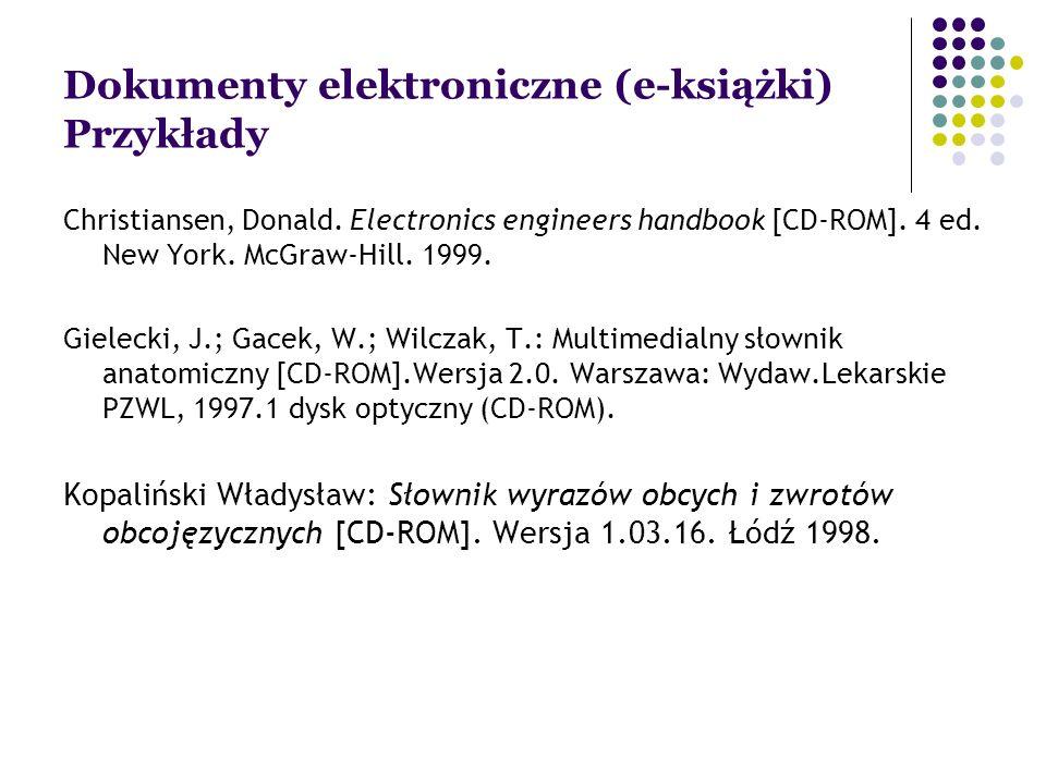 Dokumenty elektroniczne (e-książki) Przykłady