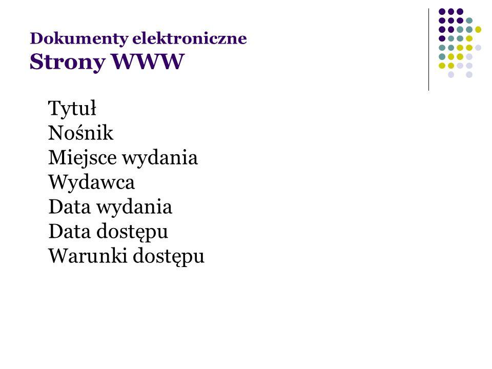 Dokumenty elektroniczne Strony WWW
