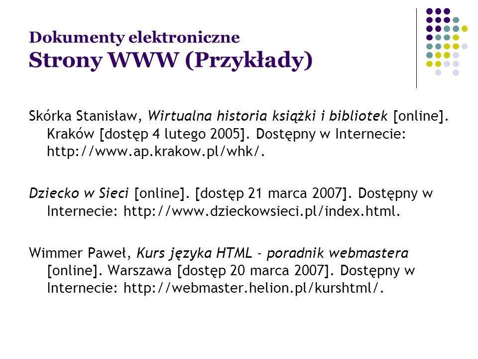 Dokumenty elektroniczne Strony WWW (Przykłady)