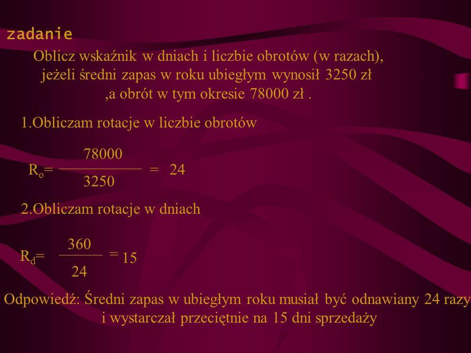 Oblicz wskaźnik w dniach i liczbie obrotów (w razach),