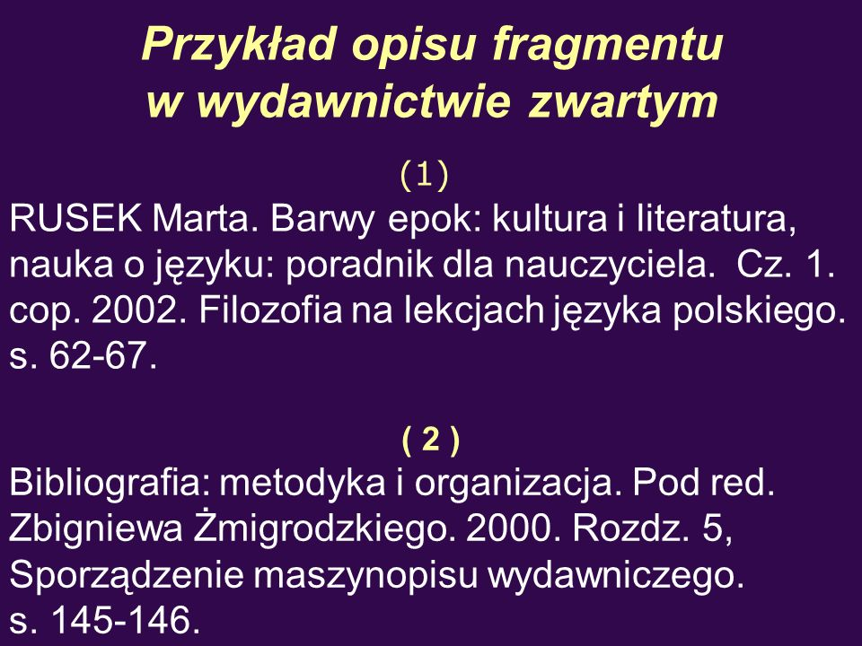 Przykład opisu fragmentu w wydawnictwie zwartym