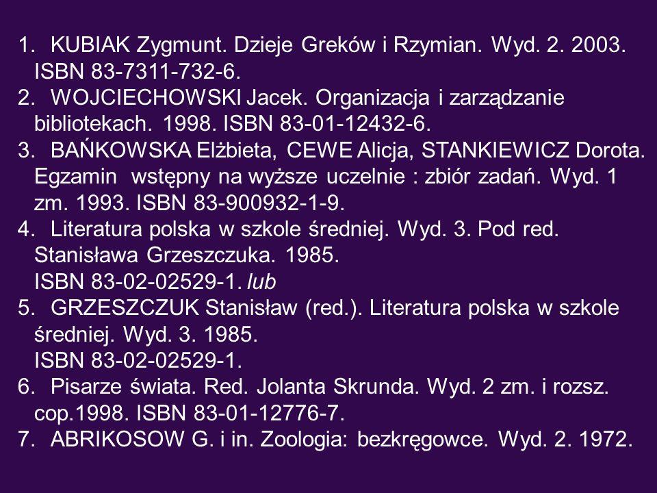 KUBIAK Zygmunt. Dzieje Greków i Rzymian. Wyd. 2. 2003