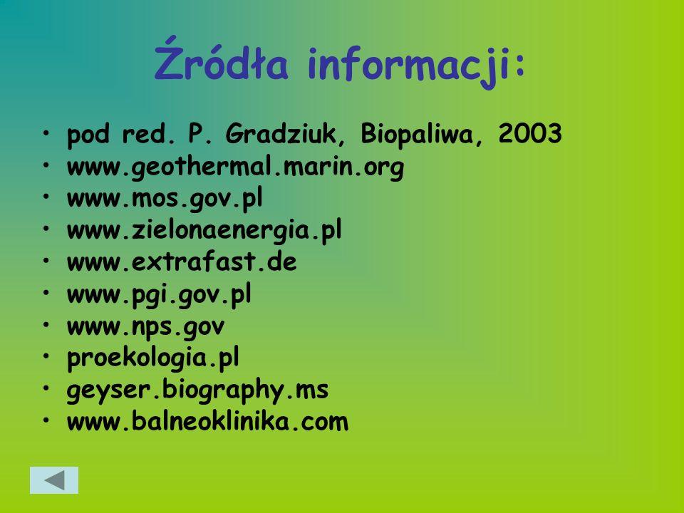 Źródła informacji: pod red. P. Gradziuk, Biopaliwa, 2003
