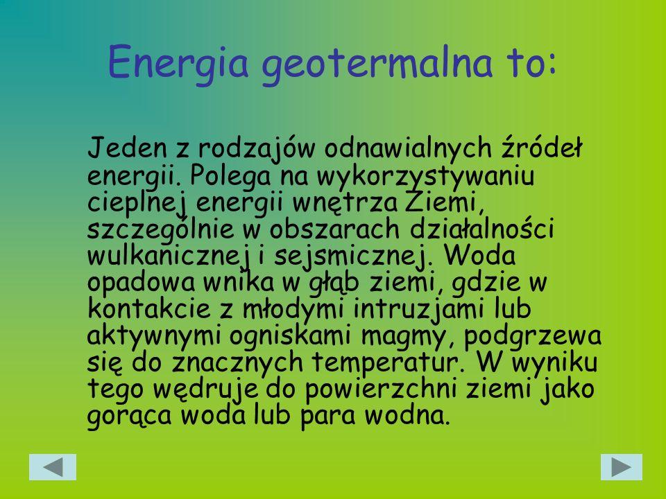 Energia geotermalna to: