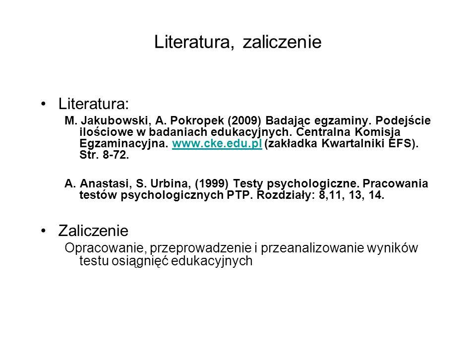Literatura, zaliczenie