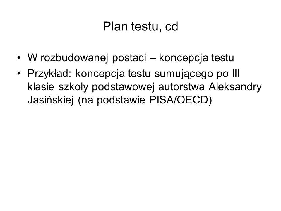 Plan testu, cd W rozbudowanej postaci – koncepcja testu