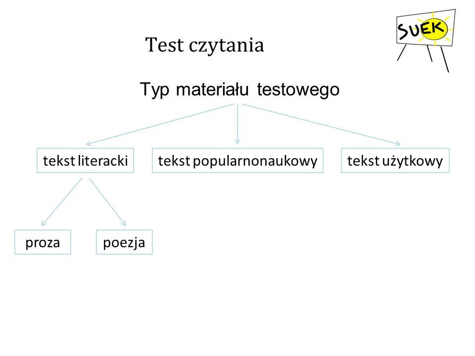 Test czytania Typ materiału testowego tekst literacki