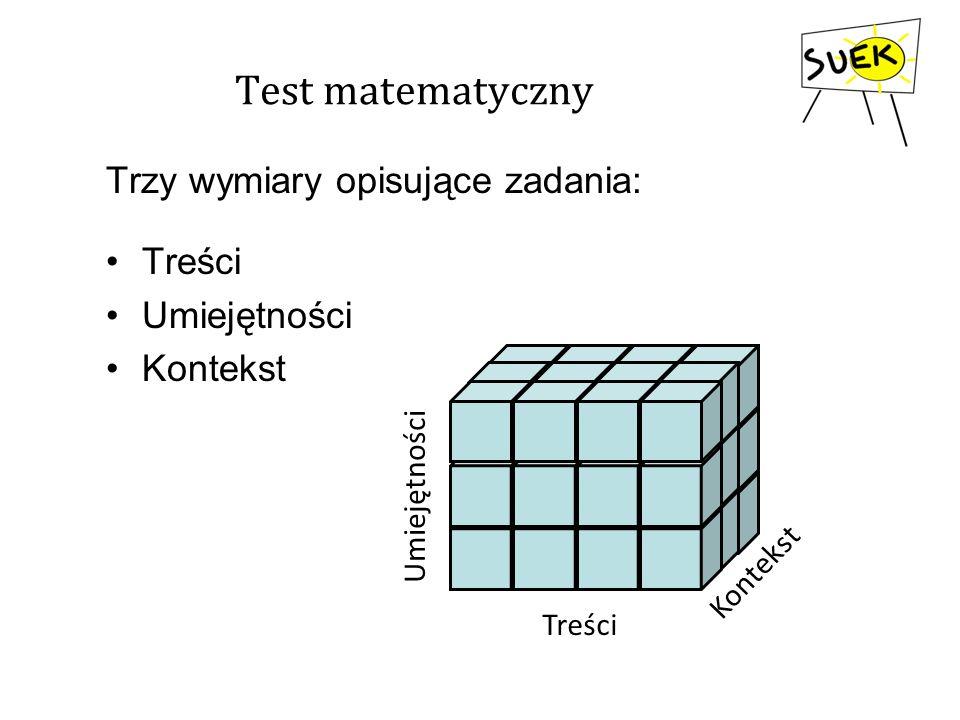 Test matematyczny Trzy wymiary opisujące zadania: Treści Umiejętności