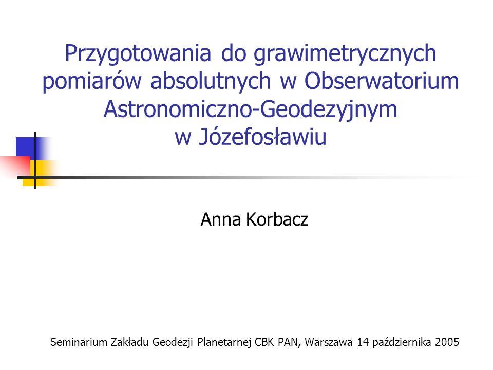 Przygotowania do grawimetrycznych pomiarów absolutnych w Obserwatorium Astronomiczno-Geodezyjnym w Józefosławiu