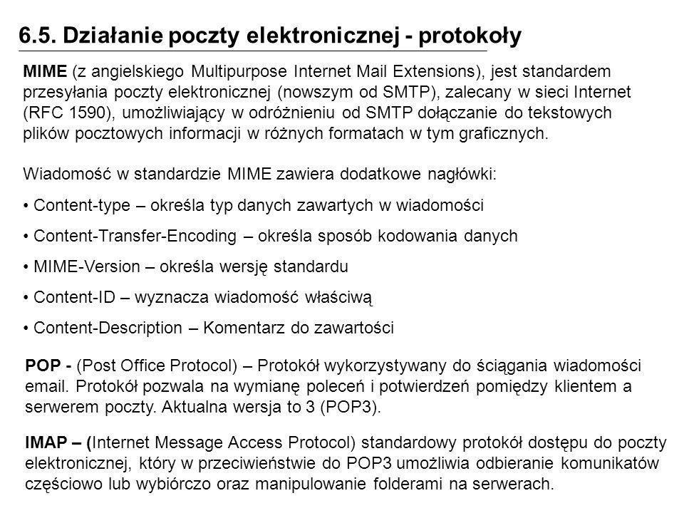 6.5. Działanie poczty elektronicznej - protokoły
