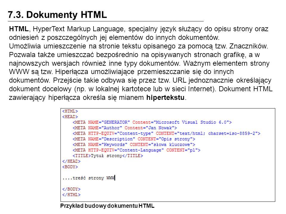 7.3. Dokumenty HTML