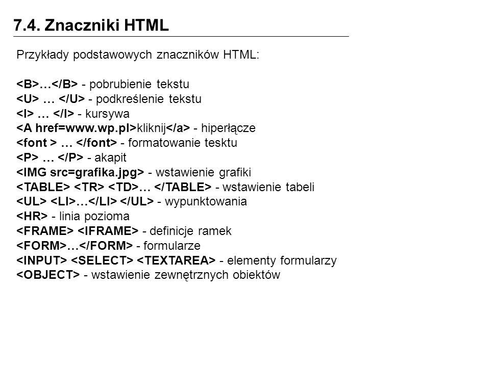 7.4. Znaczniki HTML Przykłady podstawowych znaczników HTML:
