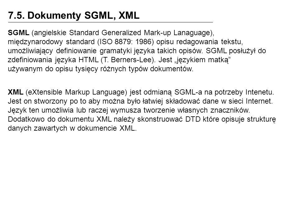 7.5. Dokumenty SGML, XML