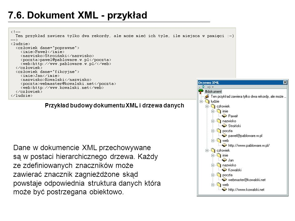 Przykład budowy dokumentu XML i drzewa danych