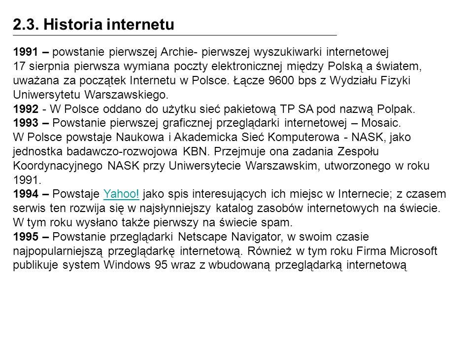 2.3. Historia internetu1991 – powstanie pierwszej Archie- pierwszej wyszukiwarki internetowej.