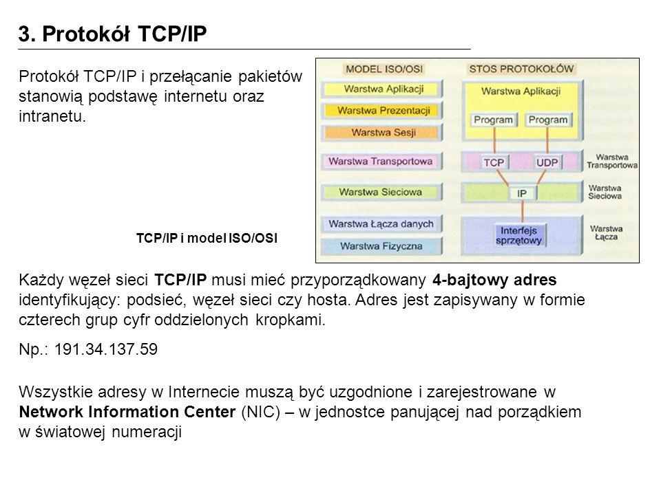 3. Protokół TCP/IP Protokół TCP/IP i przełącanie pakietów stanowią podstawę internetu oraz intranetu.
