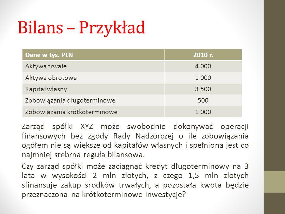 Bilans – Przykład Dane w tys. PLN. 2010 r. Aktywa trwałe. 4 000. Aktywa obrotowe. 1 000. Kapitał własny.