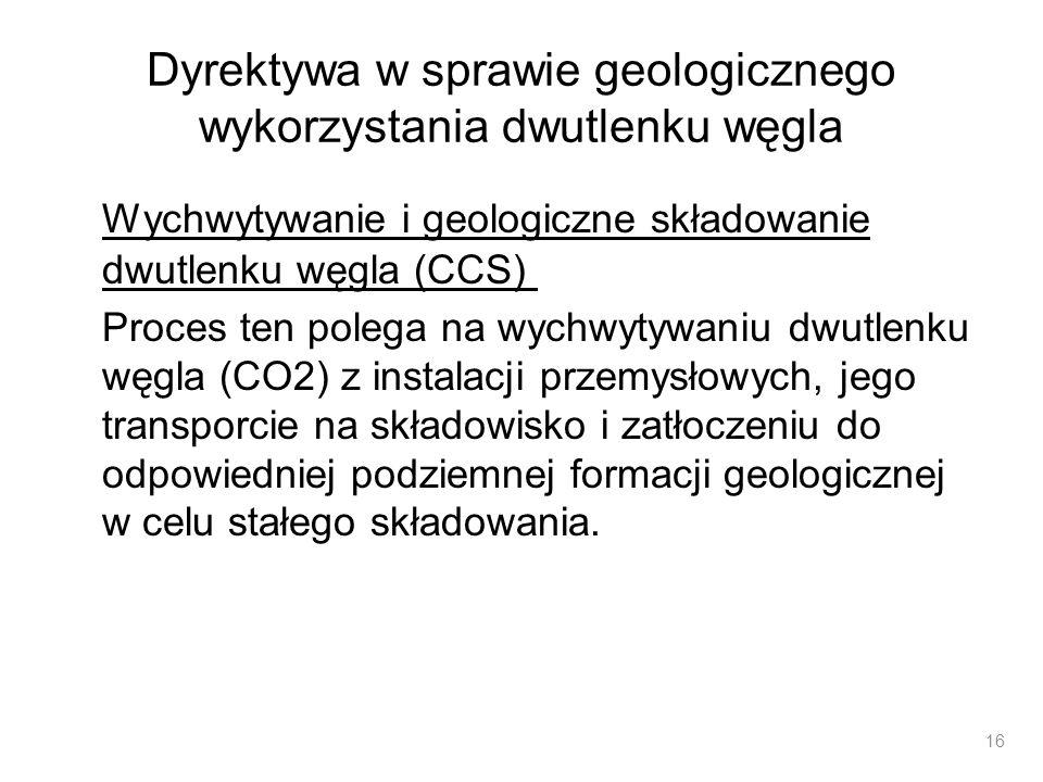 Dyrektywa w sprawie geologicznego wykorzystania dwutlenku węgla