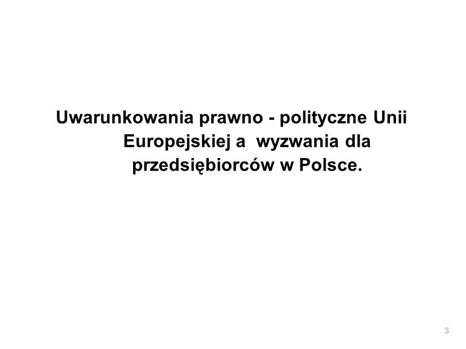 Uwarunkowania prawno - polityczne Unii Europejskiej a wyzwania dla przedsiębiorców w Polsce.