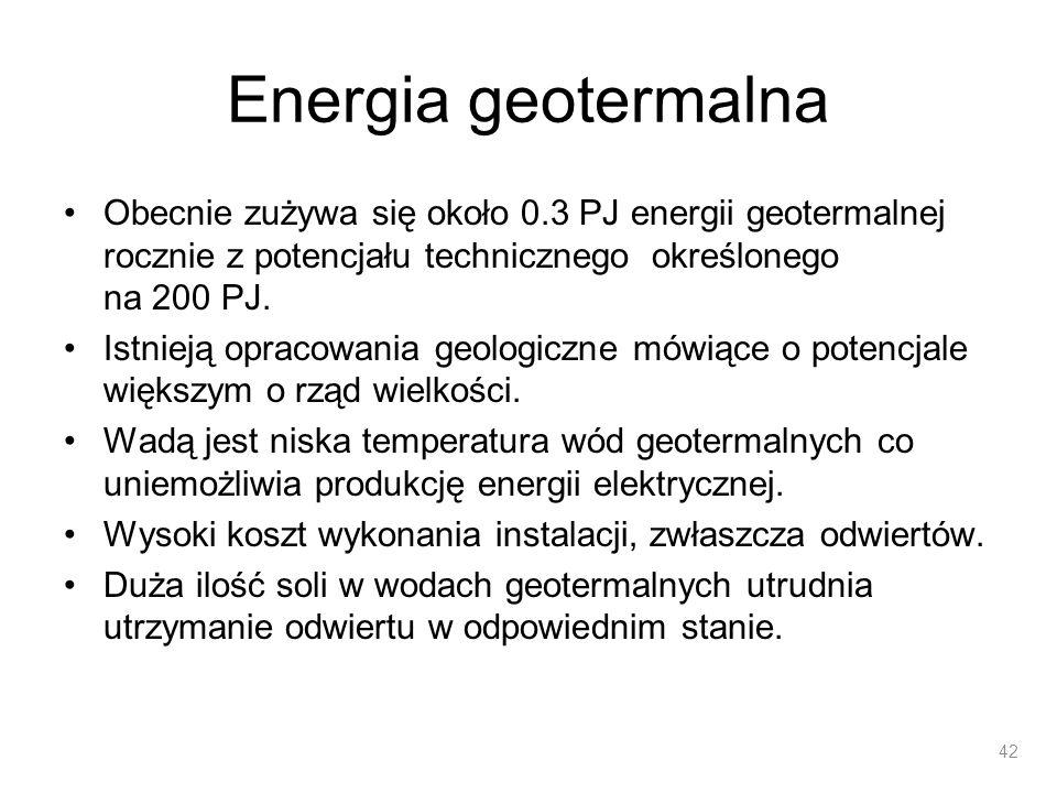 Energia geotermalna Obecnie zużywa się około 0.3 PJ energii geotermalnej rocznie z potencjału technicznego określonego na 200 PJ.