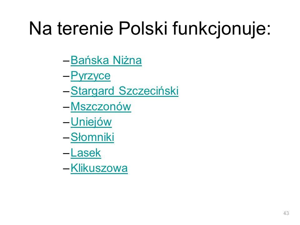 Na terenie Polski funkcjonuje: