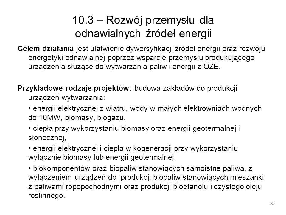 10.3 – Rozwój przemysłu dla odnawialnych źródeł energii