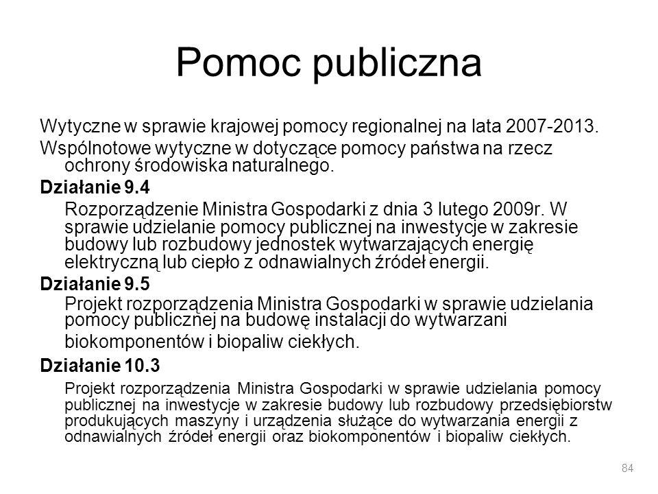 Pomoc publiczna Wytyczne w sprawie krajowej pomocy regionalnej na lata 2007-2013.
