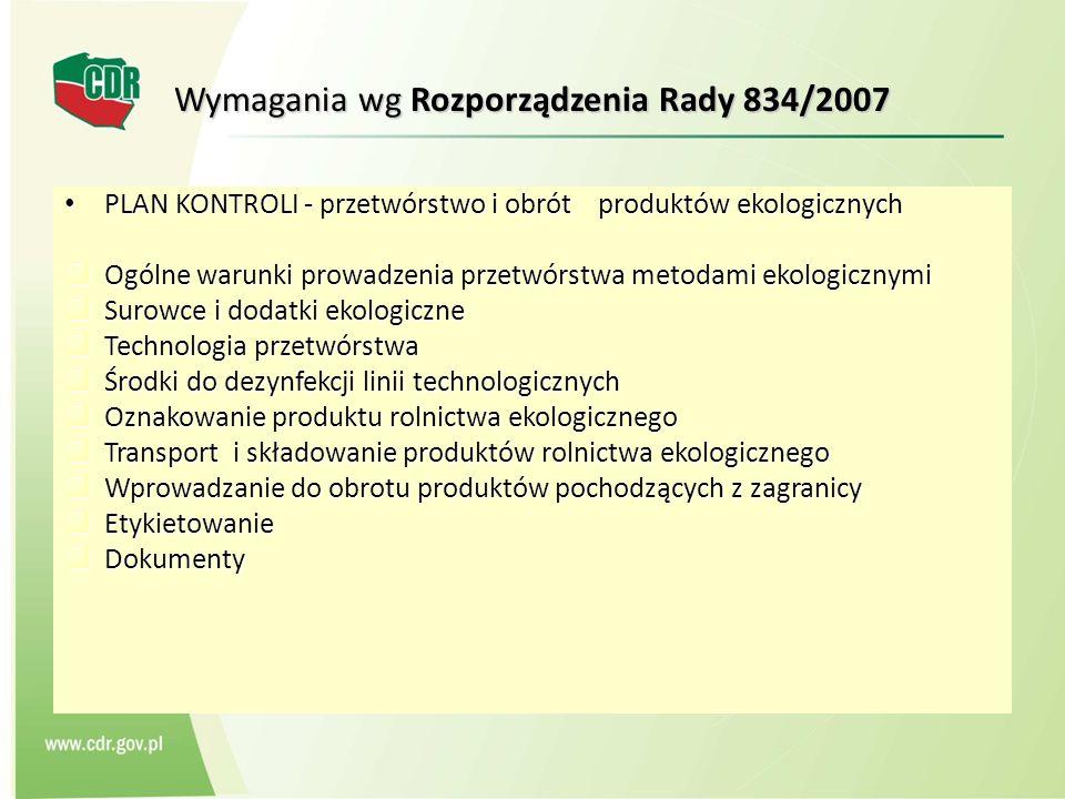 Wymagania wg Rozporządzenia Rady 834/2007