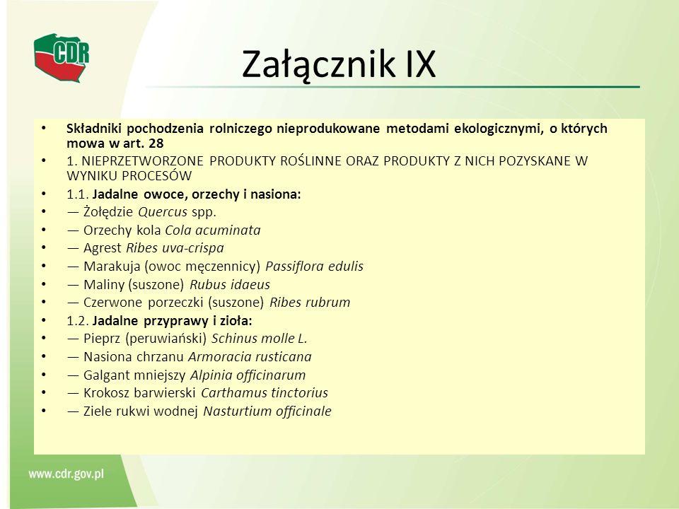 Załącznik IX Składniki pochodzenia rolniczego nieprodukowane metodami ekologicznymi, o których mowa w art. 28.