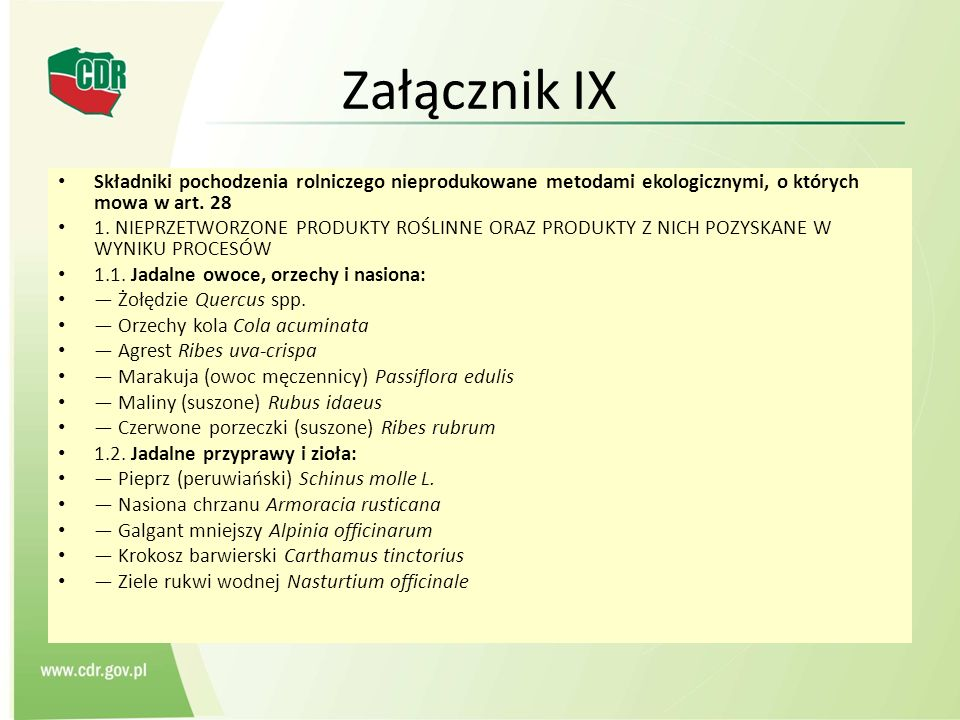 Załącznik IXSkładniki pochodzenia rolniczego nieprodukowane metodami ekologicznymi, o których mowa w art. 28.
