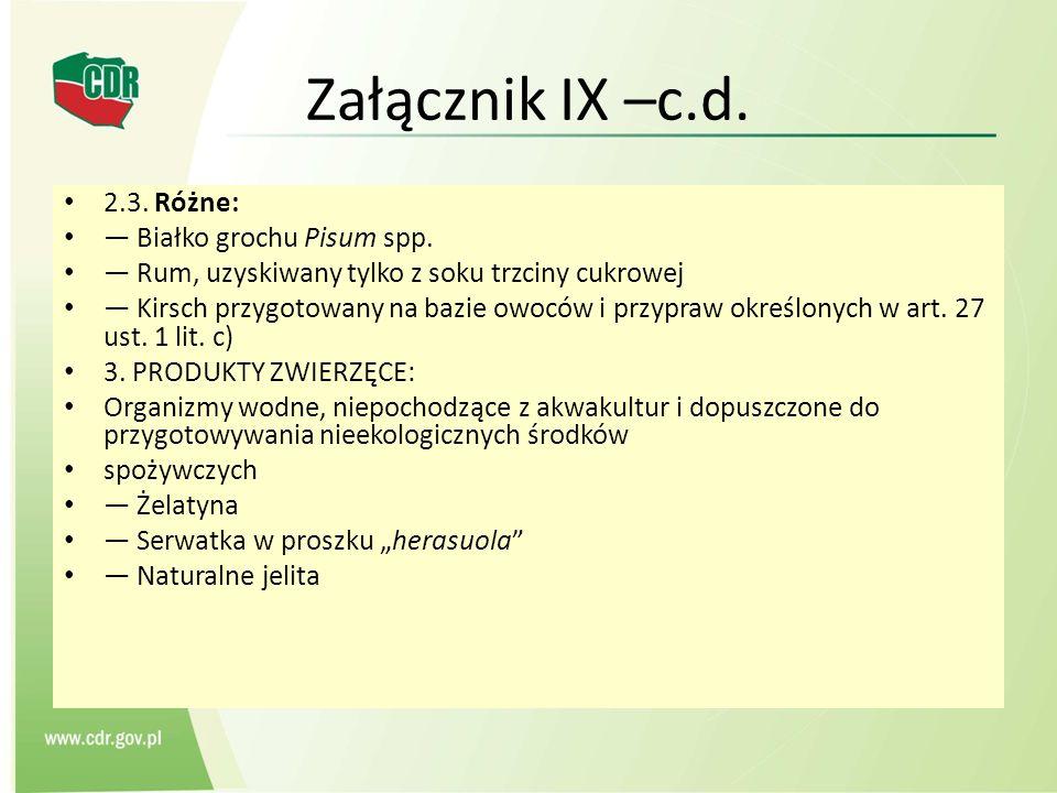 Załącznik IX –c.d. 2.3. Różne: — Białko grochu Pisum spp.